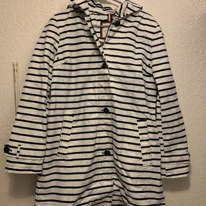 Navy Blue Tommy Hilfiger Striped Rain Coat
